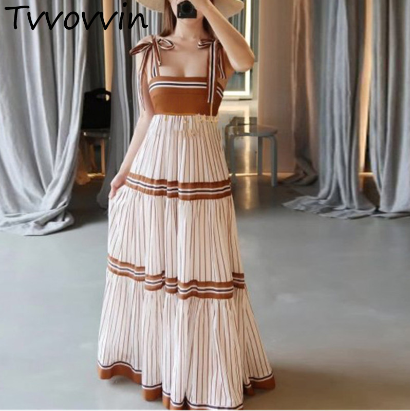 2019 Summer New Sexy Backless Spaghetti Strap Thin Printing Dress Dresses Pleated Vintage Patchwork Sexy Woman