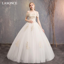 LASONCE Ball Gown Sweetheart Champagne Lace Appliques Wedding Dresses Off The Shoulder Backless Tulle Bridal Gowns