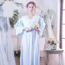 Vintage Women Sleep Shirts Spring Flare Sleeve Lace Nightgown Sleepwear Hollow Out Long Night Wear Sleep Dress lace sleeve bear print sleep dress