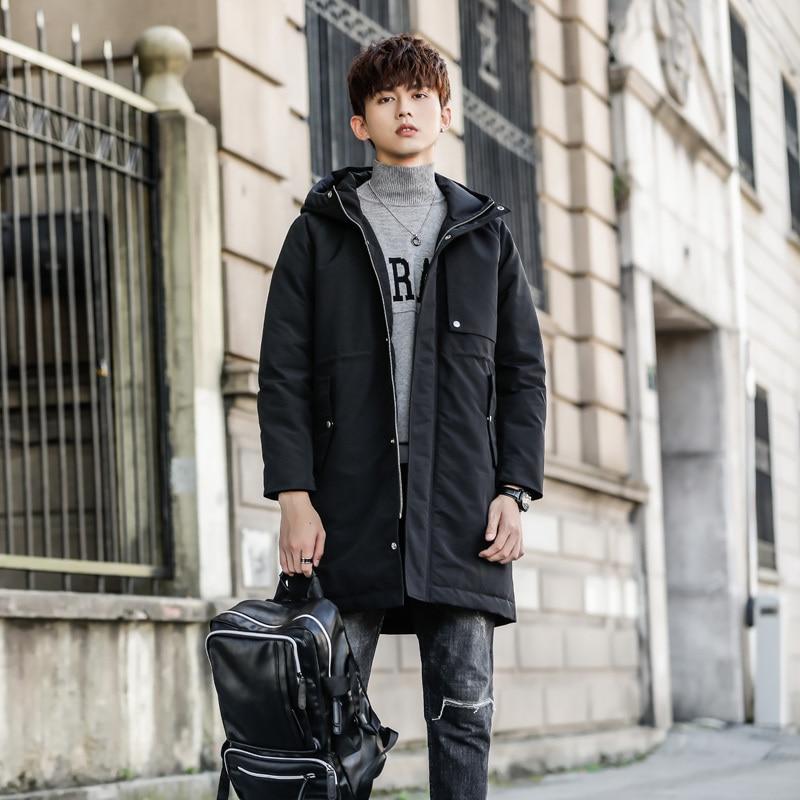 Nouveau modèle homme vers le bas Parka vestes longue auto-culture marée mâle lâche oie plume hiver manteau hommes vêtements