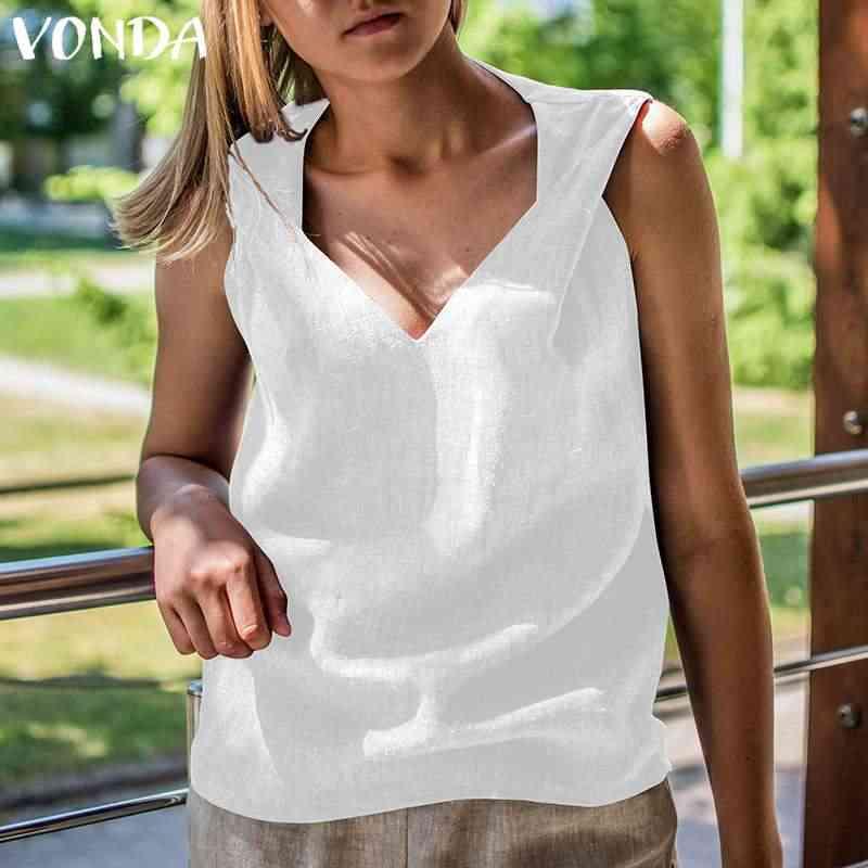 Camisas de mujer 2019 VONDA verano Casual suelta algodón cuello en V Blusas Mujer Sexy sin mangas Camisetas talla grande Blusas calientes venta