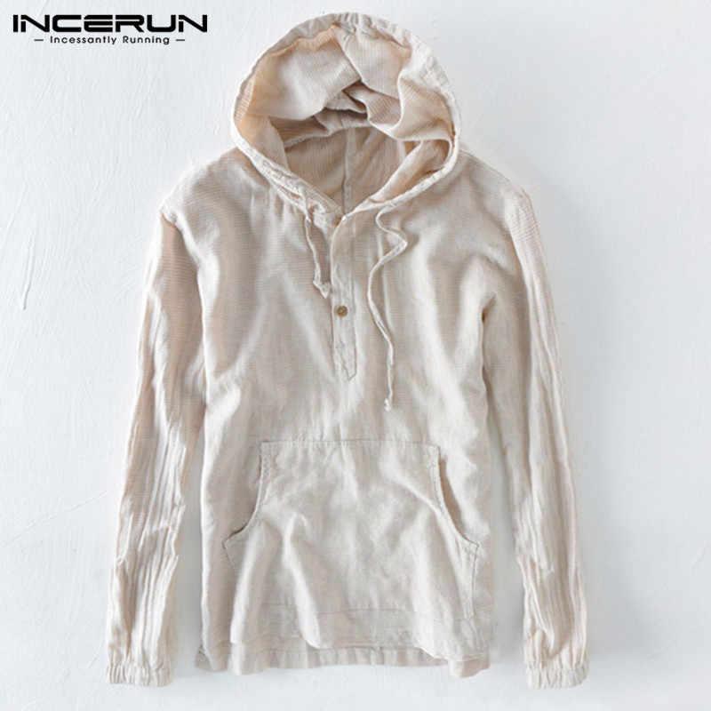 Осень INCERUN для мужчин Толстовка, пуловер, свитшот с длинным рукавом полосатый Мужской топы корректирующие Hombre верхняя одежда мода капюшоном и пуговиц