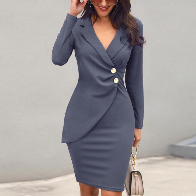 Long sleeve deep v-neck grey office dress