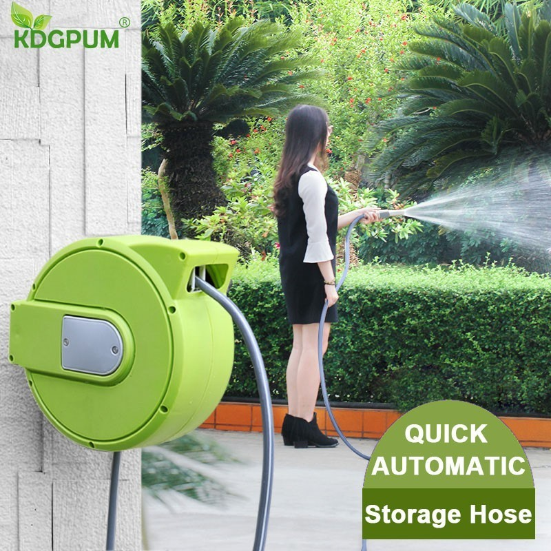 Garden Wall Hanging Hose Reel Cart Automatic Retractable Hose Reel for Watering Flower Household Car Wash Hose Pipe StorageGarden Wall Hanging Hose Reel Cart Automatic Retractable Hose Reel for Watering Flower Household Car Wash Hose Pipe Storage