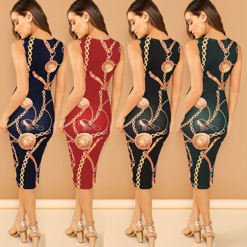 hot Women Chain Print Bodycon Clubwear Cocktail Party Slim Formal Dress in Dresses from Women 39 s Clothing