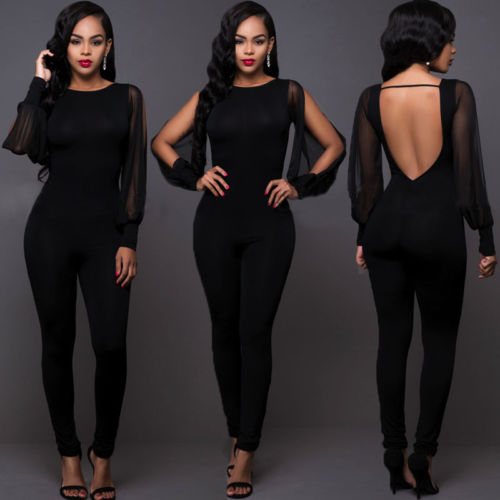 Women Jumpsuit  Long Sleeve Ladies Clubwear Backless Bodycon Party 2020 Elegant Mesh Trousers Plus Size Halter Long Pants New