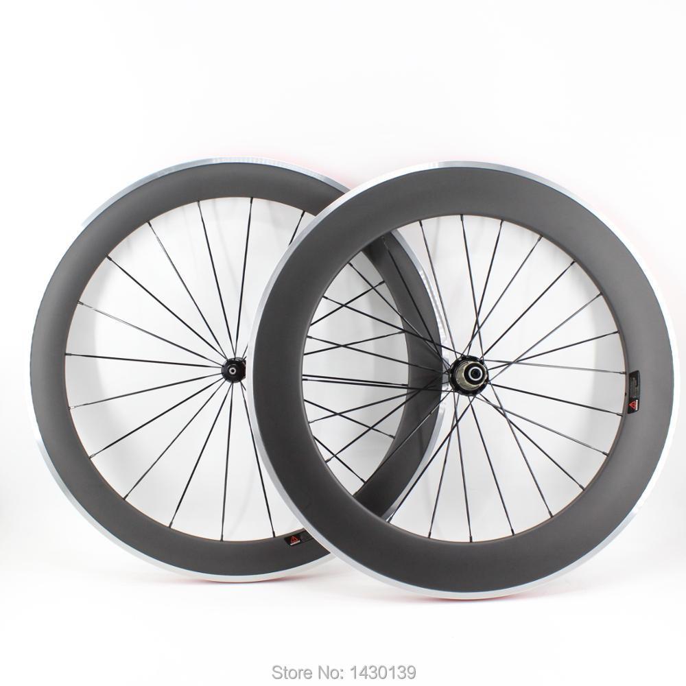 Nouveau 700C avant 60mm arrière 80mm pneu jantes vélo de Route mat UD en fiber de carbone vélo de roues avec alliage de frein surface bateau Libre