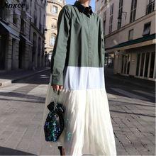 Xnxee 2019 Contrast Color Pleated Loose Shirt Dress Spring Women Long Sleeve Turn-down Collar New Korean