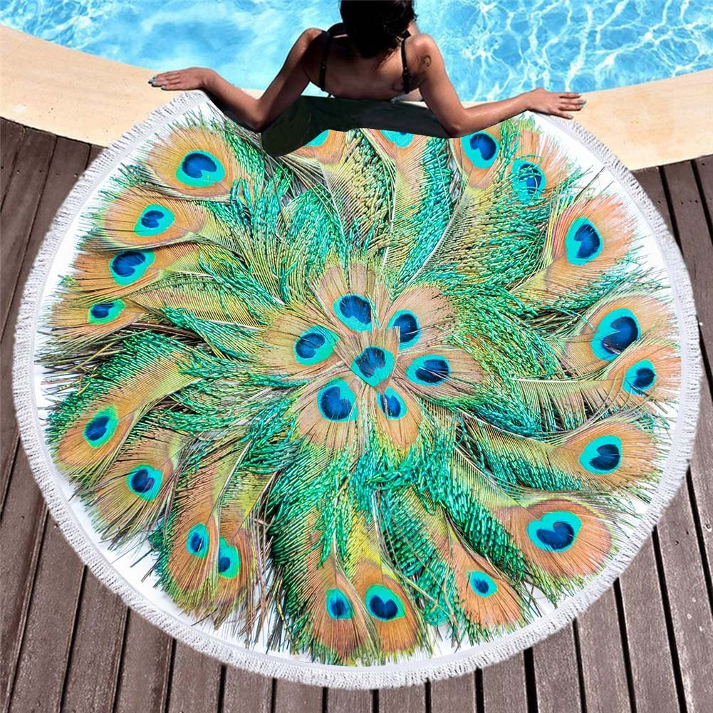 Large Round Beach Towel Mandala With Tassels Peacock Feather Bath Towels For Adults Summer Yoga Mat Microfiber Terry