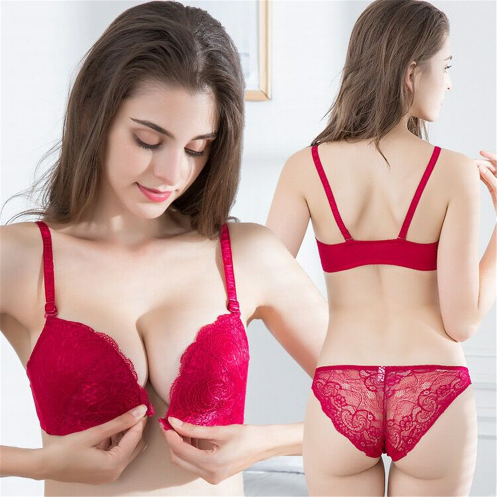 2019 New European And American Sexy Lace Front Buckle Bra Without Rims Gathered Adjustable Underwear Bra Set
