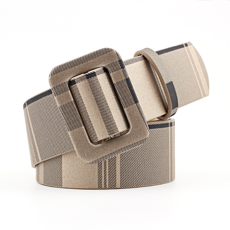 2018 Autumn New Fashion Women Retro   Belt   Square Smooth Buckle Soft Leather No Hole Dress Jeans   Belt   Female Decorative   Belt