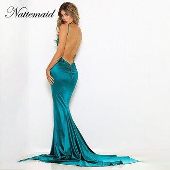 V Neck Backless Mermaid Long Dresses Sexy Elegant Party Dress