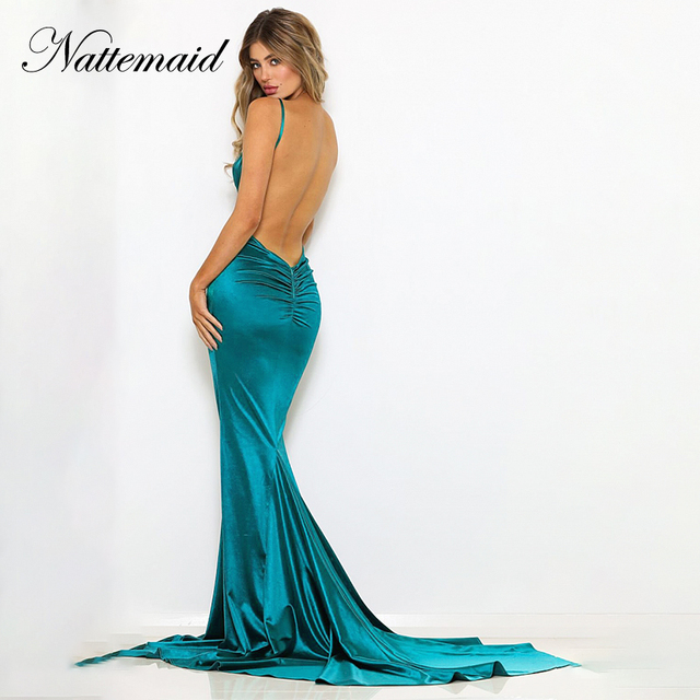 NATTEMAID 2019 Summer Reflective Dress Women Bodycon V Neck Backless Mermaid Long Dresses Sexy Elegant Party Dress Prom Vestidos