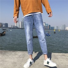 Summer new cotton mens light color hole jeans fashion youth Slim street men pants K13