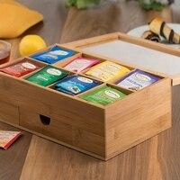 Organizador de chá Caixa De Chá De Bambu com Pequena Gaveta 100% Caixa de Chá de Bambu Natural Grande Ideia Do Presente Conj. de chá     -