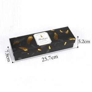 Image 5 - Coffret en papier pour bonbons au chocolat, coffret à offrir, 20 pièces, emballage à gâteau avec plumes de bronzage noires, sac en papier pour attentions pour fête danniversaire