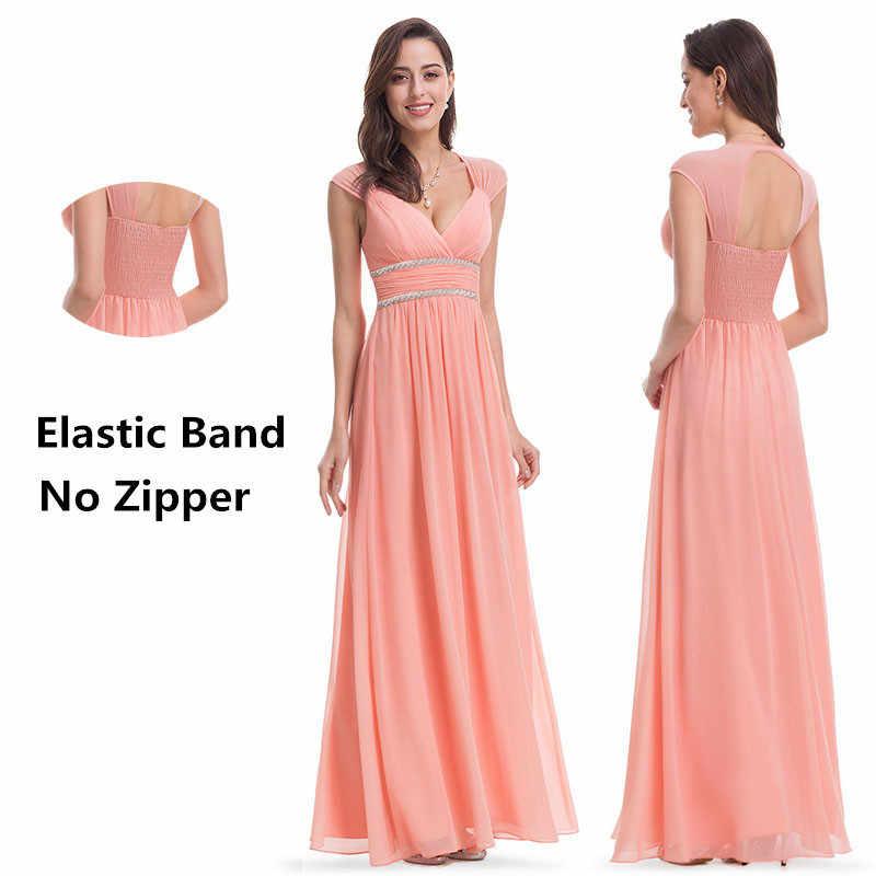 Plus size elegante com decote em v vestido de noite longo 2019 baratos chiffon vestidos de festa com miçangas ruched império oco para fora vestido formal