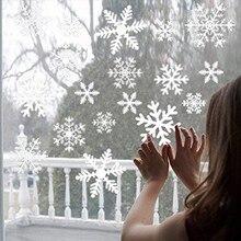 51 pçs/set Etiqueta do Floco de Neve Decorações de Natal Para Casa Kids Room Decalques Feliz Natal Enfeites de Vidro Da Janela Adesivos de Parede