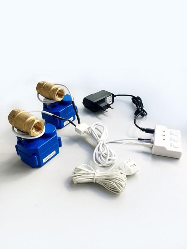 HIDAKA WLD-805 (DN15*2 pièces) 100dB alarme de sécurité à domicile détecteur de fuite d'eau avec capteur de mouvement 6m et vanne BSP NPT et prise ue prise américaine