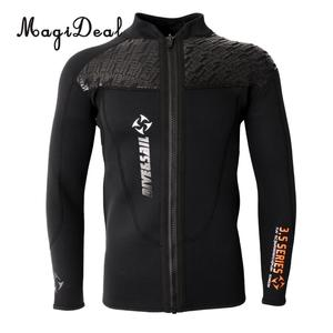 Image 1 - Phenovo 3MM Warm Neoprene Long Sleeve Wetsuit for Men Front Zipper Jacket Top Surf Scuba Diving Swimming Snorkeling Surfing Top