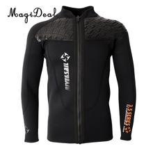 Phenovo 3mm quente neoprene manga longa wetsuit para homens frente zíper jaqueta topo surf mergulho natação surf topo