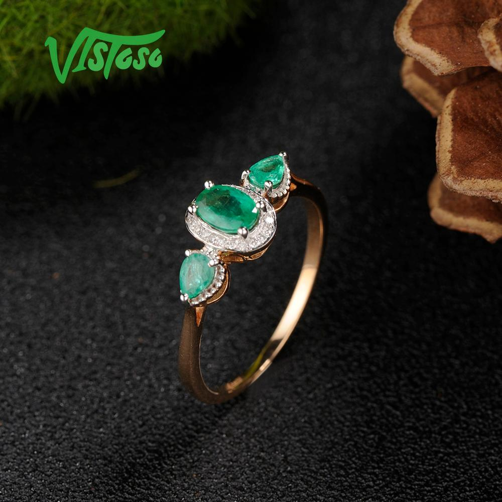 Image 4 - VISTOSO Gold Rings For Women Genuine 14K 585 Rose Gold Ring Magic Emerald Sparkling Diamond Engagement Anniversary Fine Jewelry-in Rings from Jewelry & Accessories