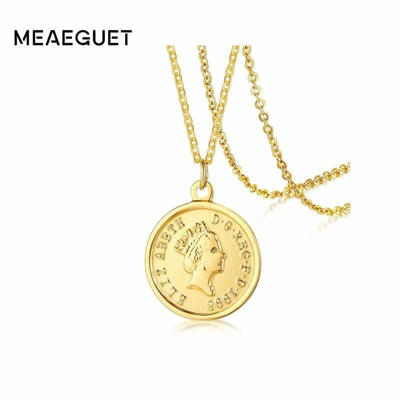 Coin Pendant Queen Elizabeth Circle Necklace Stainless Steel Golden Women Jewelry Gifts for her