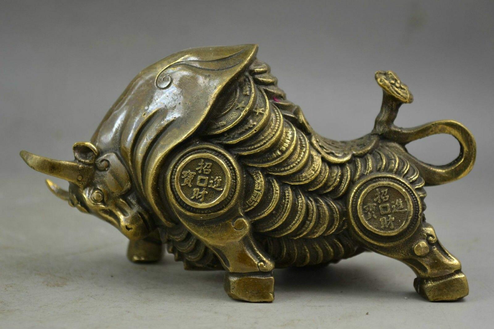 Collection laiton chinois sculpté zodiaque animaux bovins vaches apporter or monnaie argent exquise petites Statues