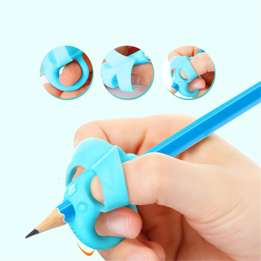 3pcs Cute Silicone Pencil Grip Beginner Writing Aid Tool Baby Double Thumb Posture Correction Tool Pen Holder Kids Supplies(China)
