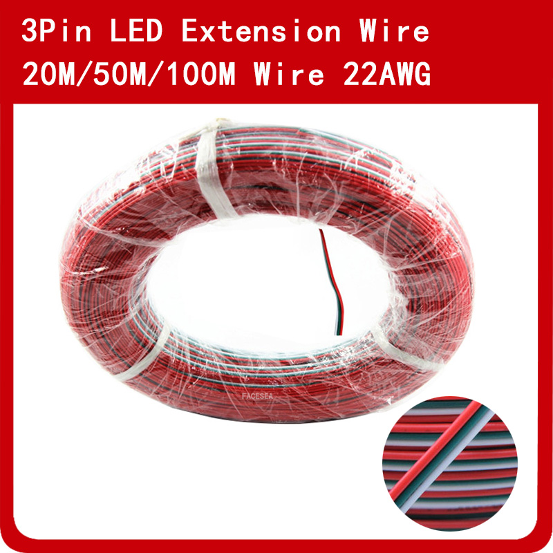 20m 50m 100m 3pin Electrical PVC Insulated Wire, Tinned Copper Extension Electric Cable Connector 22AWG Wire Cord for LED Strip