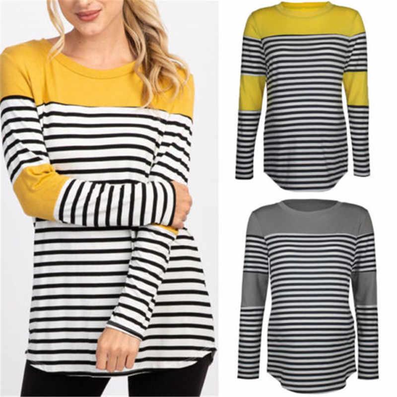 769429fc5 ... 2019 Newly Women Maternity Clothes Nursing Tops Tshirt Breastfeeding  Tops Splice Pregnancy Striped Tops