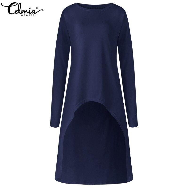 Plus Size 2019 Celmia Women   Blouses     Shirts   Ladies Long Sleeve Asymmetric Long Tops Autumn Soild Casual Loose Blusas Femininas
