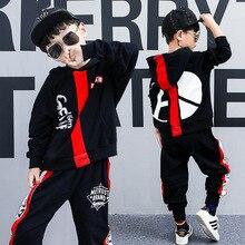 все цены на 2018 Spring New Fashion Boys Hip-hop Suit Kids Clothing Cotton Letter Print Stripe Long Sleeve Hooded Sweater+Pants 2pcs Set онлайн