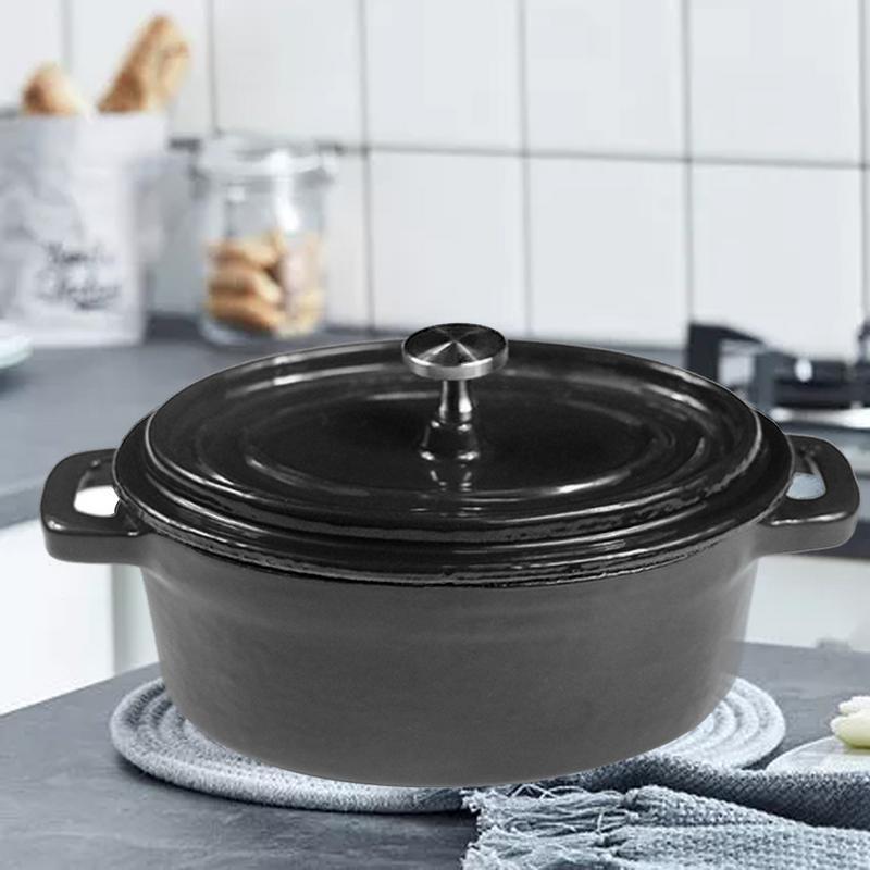 Мини голландские печи Эмалированные чугунные покрытые кастрюли анти обжигающий Овальный Мини горшок кухонные инструменты для приготовлен