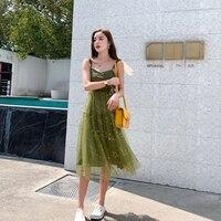 New Women dress Elves Small Qing Xian Fungus Dresses Green 6314