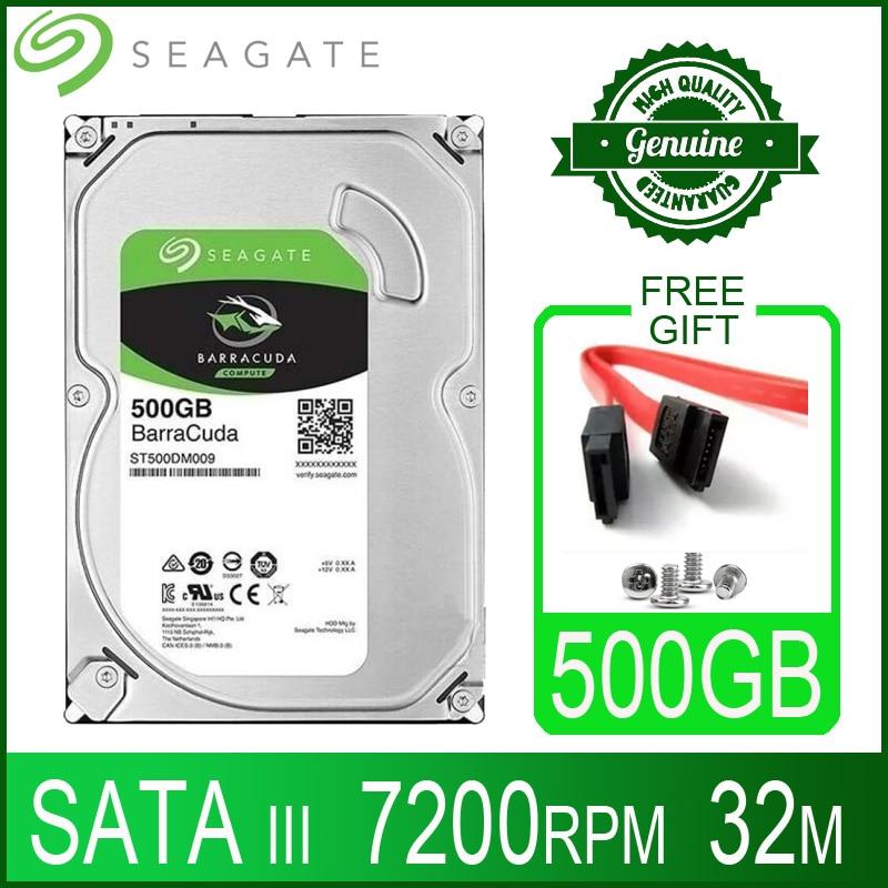 Жесткий диск Seagate 500 Гб, внутренний жесткий диск для настольного компьютера, жесткий диск 500 Гб, 7200 об/мин, 32 м, 3,5 дюйма, 6 кэш-памяти, SATA III для ПК...
