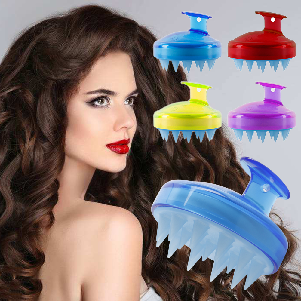 1 Pcs Spa Slimming Massage Brush Silicone Head Body Shampoo Scalp Massage Brush Comb Hair Washing Comb Shower Bath Brush