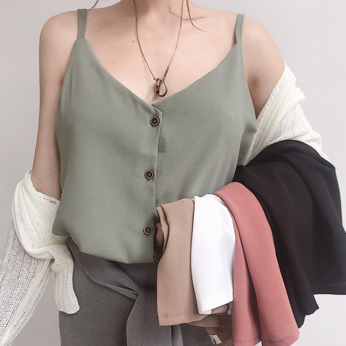 Summer Woman 2019 Solid Color Camisole V-neck Buttons Chiffon Camis Summer   Tank     Tops
