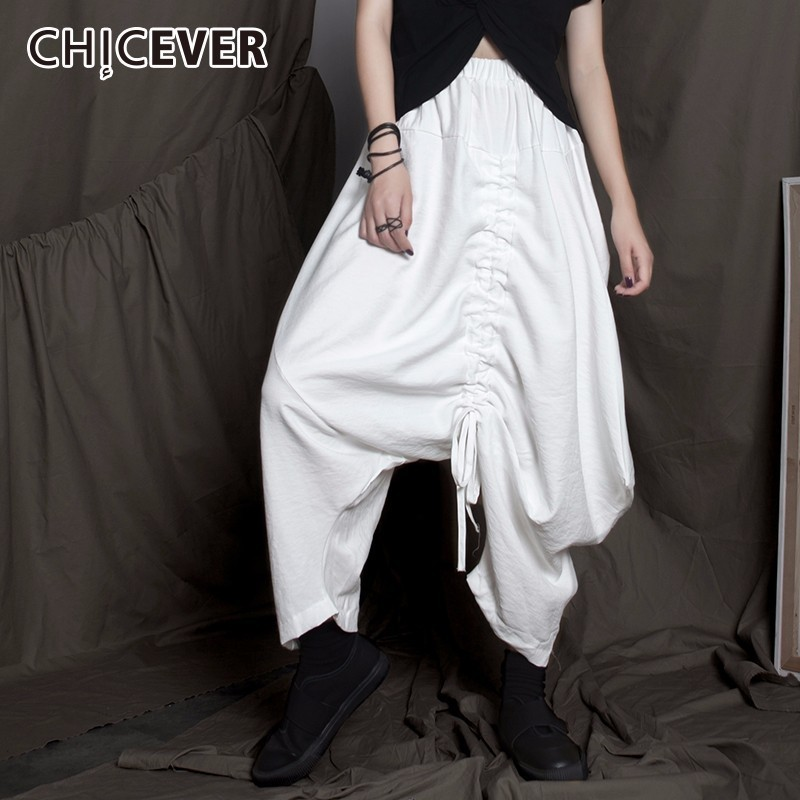 CHICEVER Trousers For Women Loose Oversize Hem Irregular Drawstring Cross Pants For Women s 2019 Casual