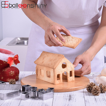 BalleenShiny 10pcs/set 3D Gingerbread House Cookie Molds Stainless Steel Christmas Biscuit Chocolate Set Pastoral Bakeware