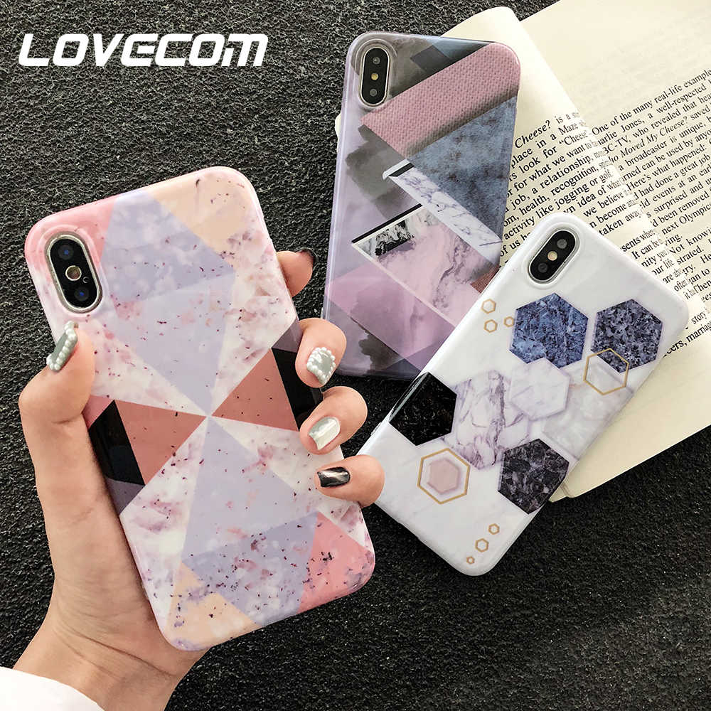 LOVECOM Marble Phone Case For iPhone XS Max XR XS 6 6S 7 8 Plus X Hot Geometric Triangle Soft IMD Phone Back Cover Cases Gifts