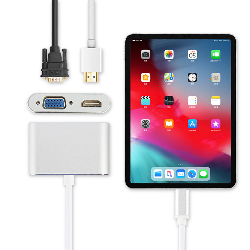 HUWEI USB C Adapter Converter to HDMI VGA USB C Cable HUB For iPad Pro 11 inch 2018 12.9 inch Case Connect projector TV Dock