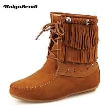 Classical Tassel Boots Woman Cow Suede Leather Moccasin Fringe Lace Up Warm Plush Snow Girls Winter Wedge shoes
