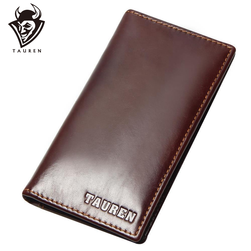Ny RFID-blokkering 100% ekte lær menns Slim Wallet Long Bifold Cowhide Card Holder RFID Protection Male Purse