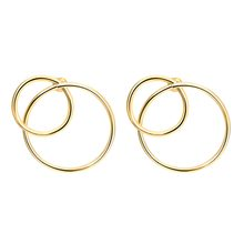 Trendy Simple Double Round Circle Geometric Ear Stud Hollow Gold Sliver Metal Earrings Fashion Jewelry Birthday Gifts For Women(China)