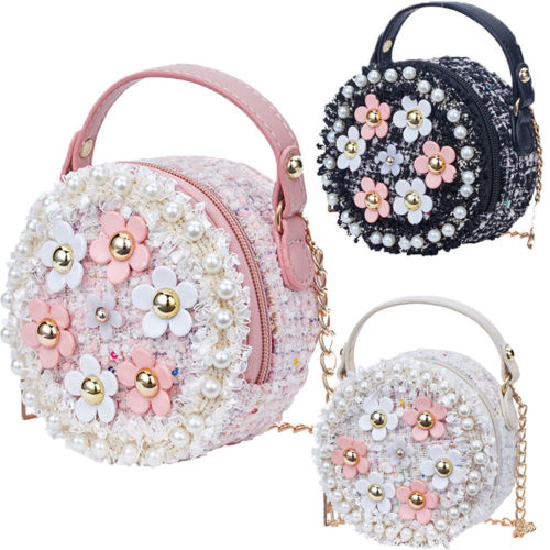 Kid Girl Princess Handbag Satchel Sling Shoulder Bag PU Round Flower Pearl Beading Purses