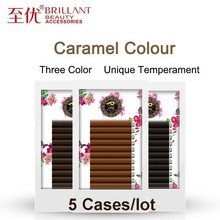 BRILLANT 5 Cases Caramel Color Classic Fashion Grafting Eyelashes Extension Density Plant False Eyelash Natural Brown Coffee