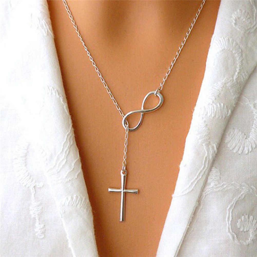 Simple de acero inoxidable infinito encanto Colgante Cruz Collares niñas de plata gargantilla cadenas Collares de la joyería para las mujeres regalos