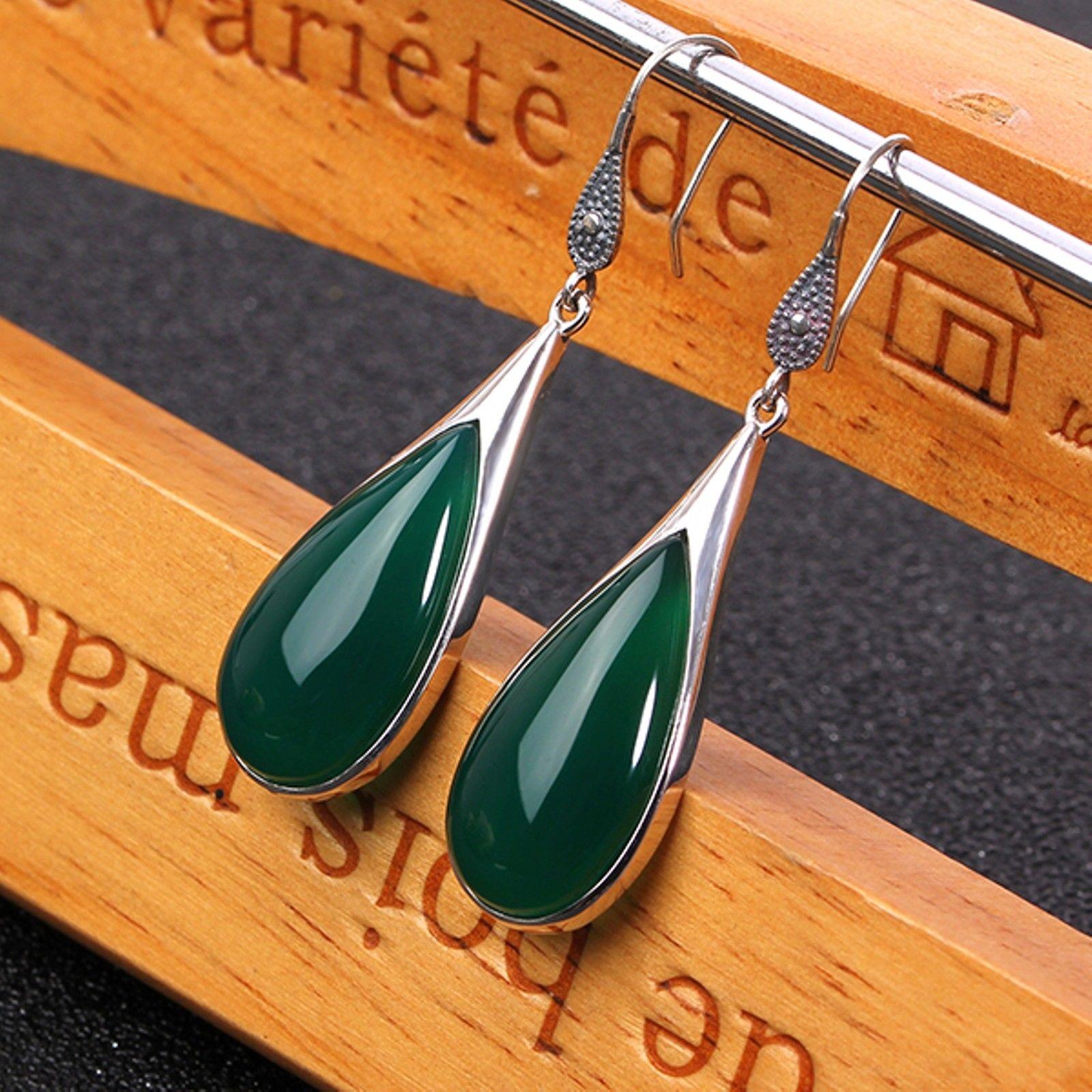 Nowy w stylu Vintage, szterling S925 srebrny zielony agat szczęście wypadania Dangle kolczyki w Kolczyki od Biżuteria i akcesoria na  Grupa 2