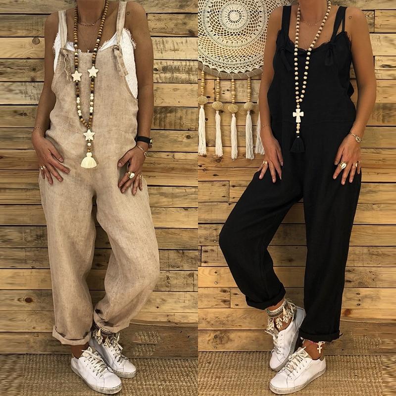 ZANZEA 2019 Combinaison Femme Dungarees   Jumpsuits   Women Harem Pants Female Backless Playsuits Cotton Pantalon Overalls Oversized